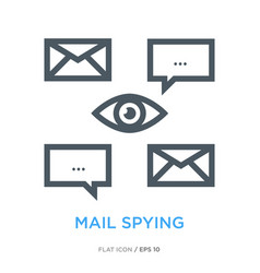 Mail spying line flat icon vector