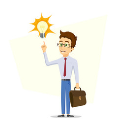 Male businessman points his finger at a light bulb vector