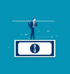 man balancing on the dollar banknote concept vector image