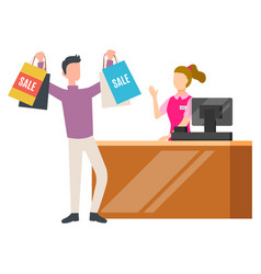 Man buyer with sale purchase near cashbox vector