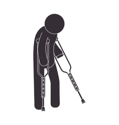 Man crutches walk vector