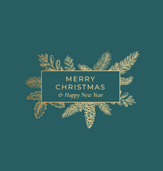 merry christmas abstract botanical card with vector image