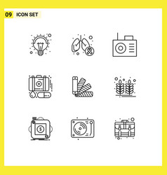 Modern set 9 outlines pictograph pantone vector
