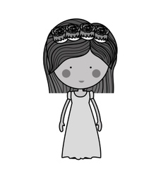 Monochrome bride with dress and crown of roses vector