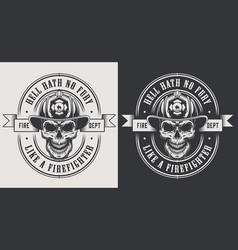 monochrome fireman prints template vector image