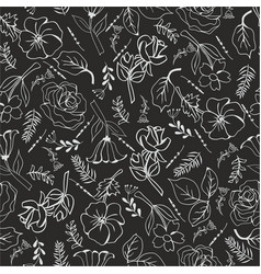 monochrome flowers on black background vector image vector image