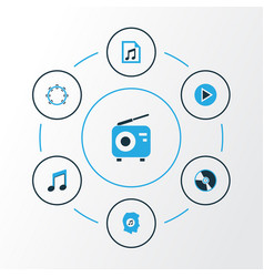 music colorful icons set collection of playlist vector image