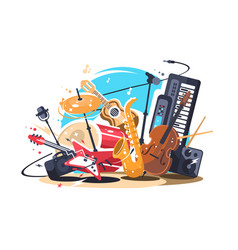 Musical instruments on stage vector