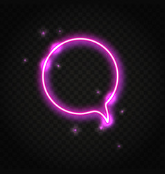 neon pink round speech bubble with space for text vector image