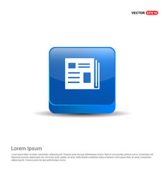 news icon - 3d blue button vector image