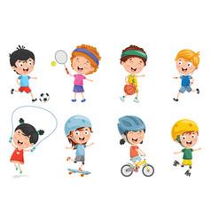 Of kids making sport vector