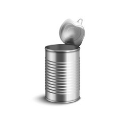 Opened corrugated tin can side view 3d realistic vector