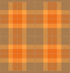 Orange and beige tartan plaid seamless pattern vector
