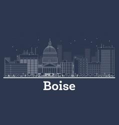 outline boise idaho city skyline with white vector image