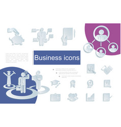 paper business icons composition vector image