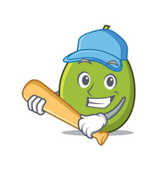 Playing baseball olive character cartoon style vector