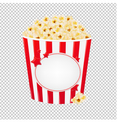 Popcorn in red cardboard box vector
