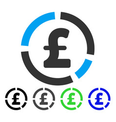 Pound financial diagram flat icon vector