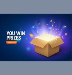 Prize gift box confetti explosion vector