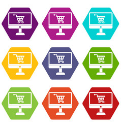purchase at online store through computer icon set vector image
