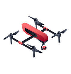 red cinema drone icon isometric style vector image