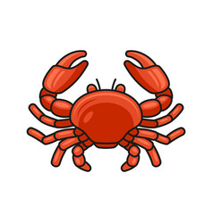 red crab cartoon style icon on white background vector image