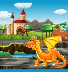 Scene with knight and dragon vector