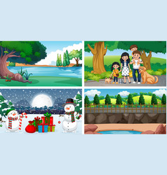 scenes with trees and snow vector image