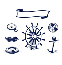 Sea icons set blue vector