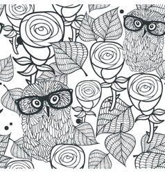 Seamless black and white pattern with flowers and vector image