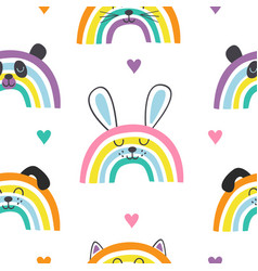 seamless pattern with baby animals rainbows vector image