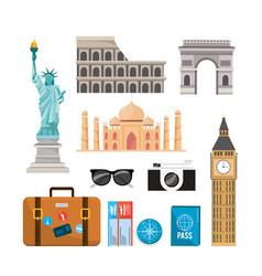 set international travel recreation destination vector image