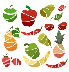 Set isolated fruits and vegetables pear pepper vector image