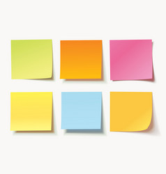 Set of different colored sheets of note papers vector