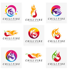 set of hot chili logo design chili with fire vector image