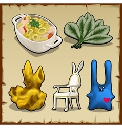 Set of items associated by theme of rabbits vector