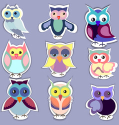 set of separated cute owl stickers vector image vector image
