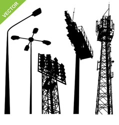 Silhouette street lamp and sport light stadium vector