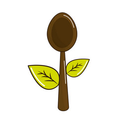 Spoon kitchen tool with leaves vector