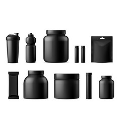 Sport food black containers whey protein gainer vector