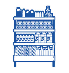 Supermarket shelf with foods and beverages in blue vector