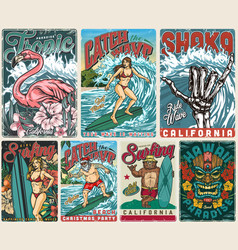 surfing paradise vintage posters vector image