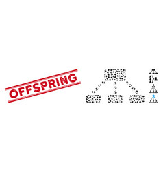 Textured offspring line stamp and mosaic hierarchy vector