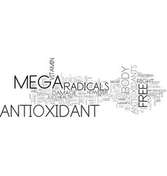 The mega antioxidant text background word cloud vector