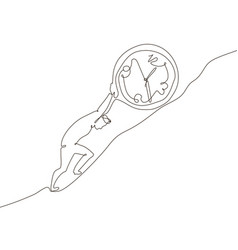 Time management - one line design style vector