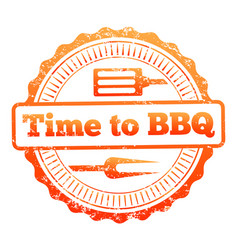 Time to bbq colorful label design vector