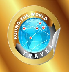 Travel and Tourism Around The World Gold Label vector image
