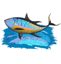 tuna on a blue wave vector image