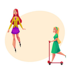 Two girls women one roller skating another vector