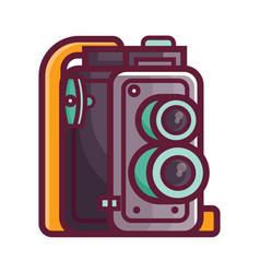 vintage twin lens film camera icon vector image
